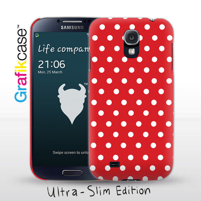 Grafikcase Samsung Galaxy S4 case: White on Red Polka Dots
