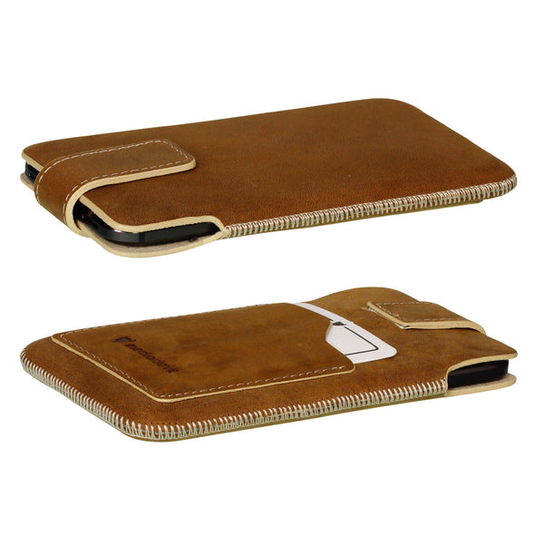 Full-Grain Genuine Leather Pouch Phone Case - Universal Size 5 (XL)