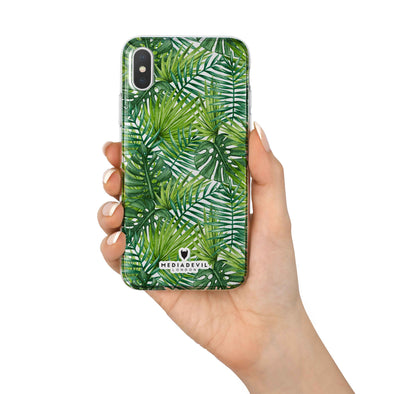 Apple iPhone X Case - Palm Leaves Pattern - Reinforced TPU Gel Case