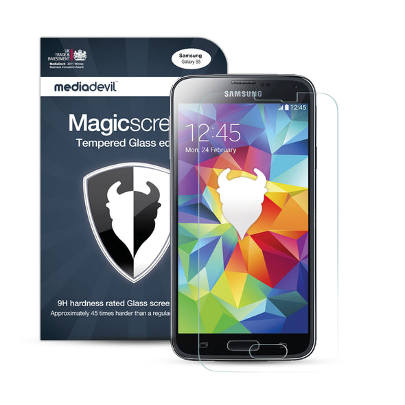 Magicscreen screen protector: Tempered Glass Clear (Invisible) edition - Samsung Galaxy S5 - (1 x Glass Screen Protector)