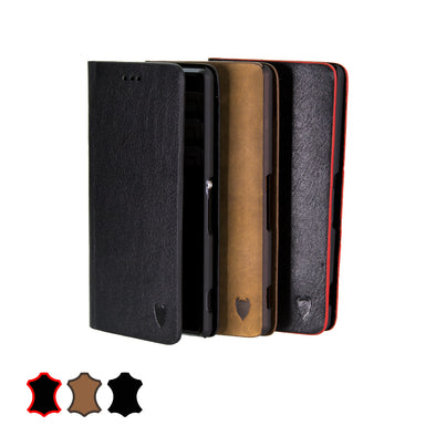 Sony Xperia Z3 Genuine European Leather Notebook Case with Stand | Artisancover (1st Gen.)