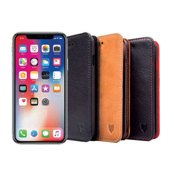 Apple iPhone X / XS Genuine European Leather Notebook Case with Stand | Artisancover (3rd Gen.)