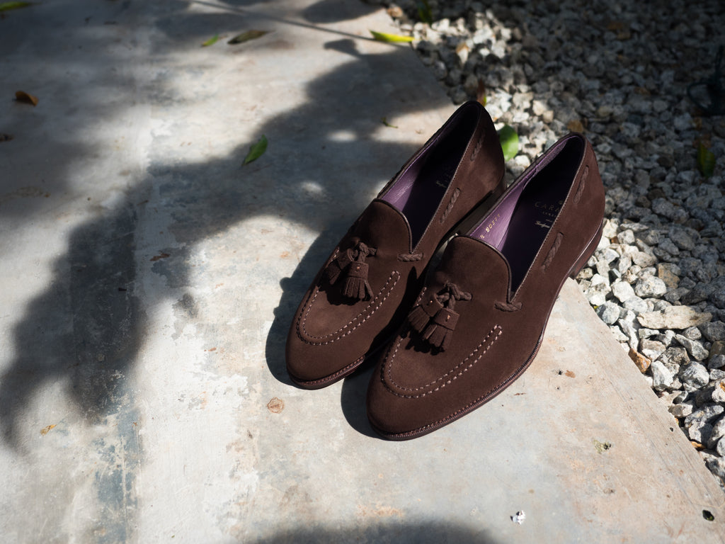 4c030599bd0 Product Highlight  Carmina Brown Suede Braided Tassel Loafer