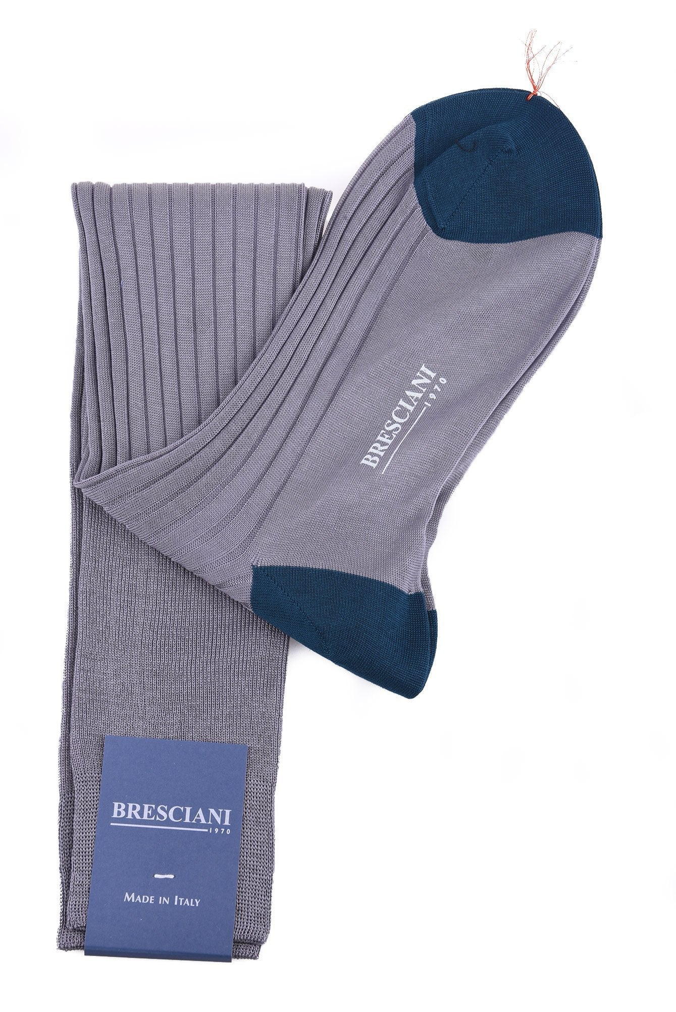 Bresciani Two-Tone Cotton Knee Length Socks