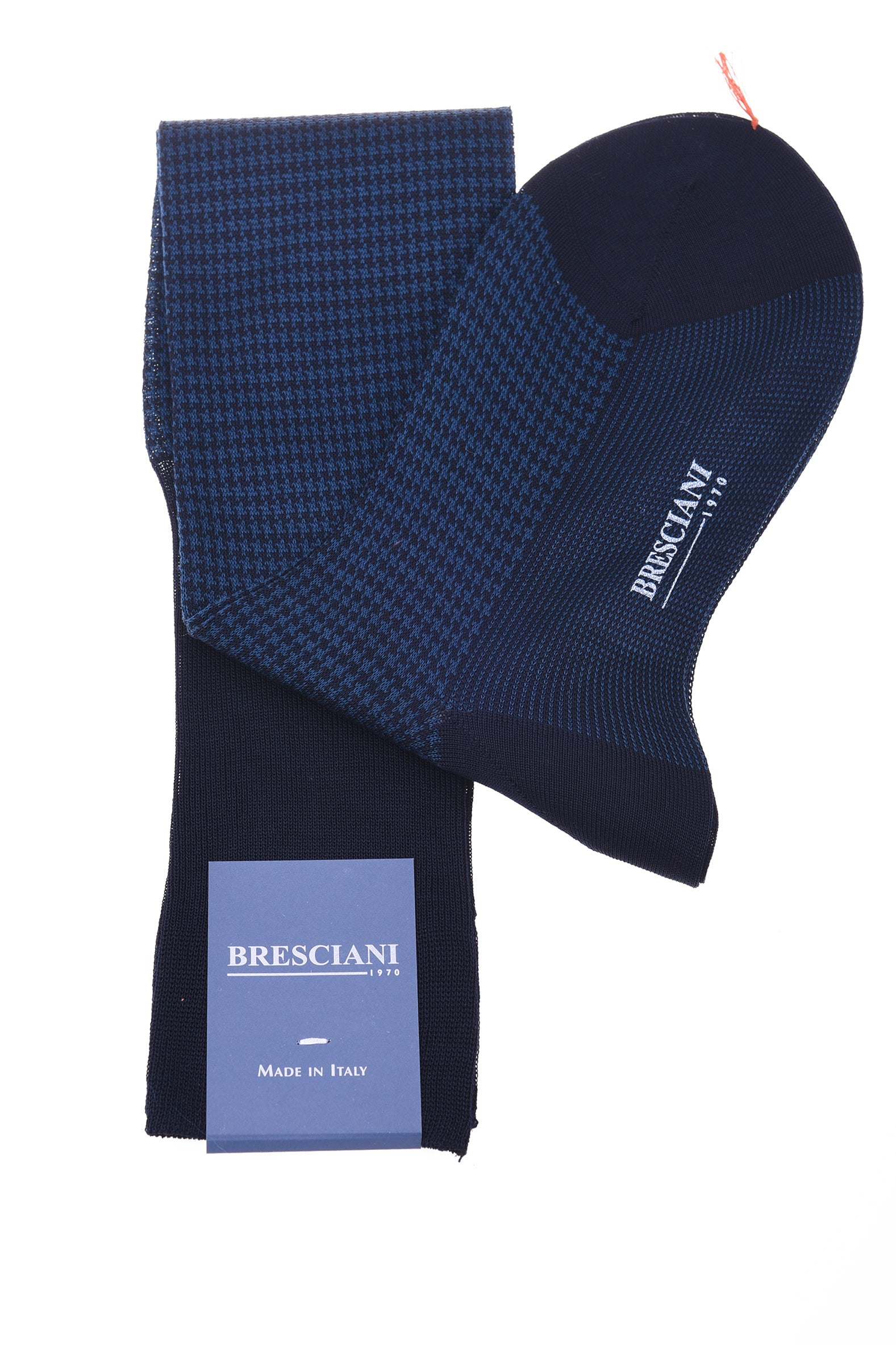 Bresciani Two-Tone Herringbone Cotton Knee Length Socks