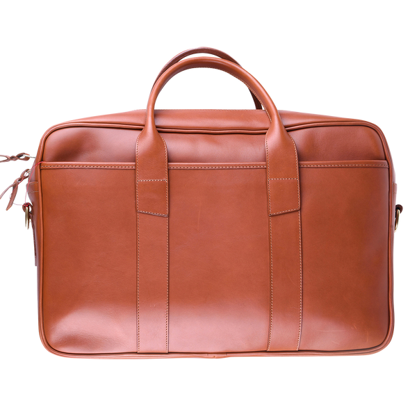 Frank Clegg Commuter Briefcase in Cognac Tumbled Leather