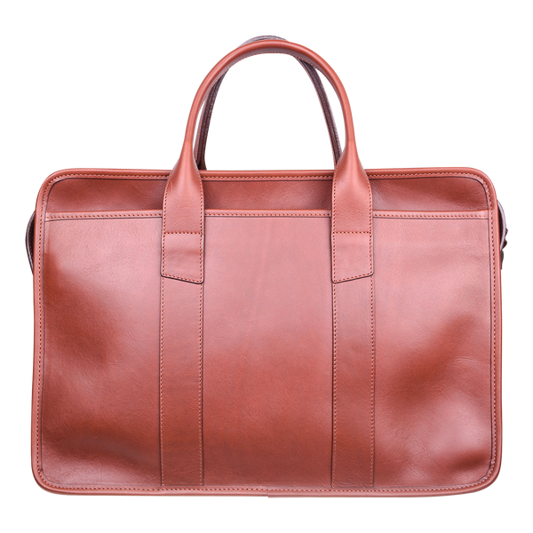 Frank Clegg x WJ & Co. Bound Edge Zip-Top Briefcase in Chestnut Tumbled Leather