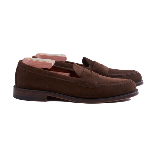 Alden Unlined Penny Loafer in Dark Brown Suede