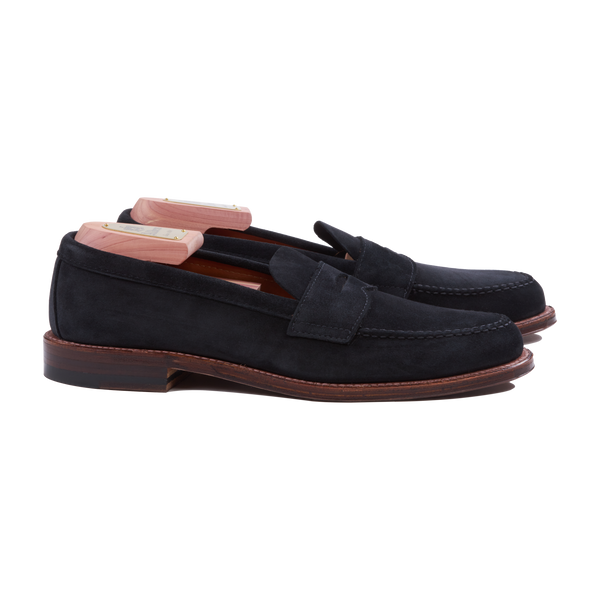 Alden Unlined Penny Loafer in Black Suede