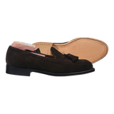 Alden Tassel Loafer in Mocha Kid Suede