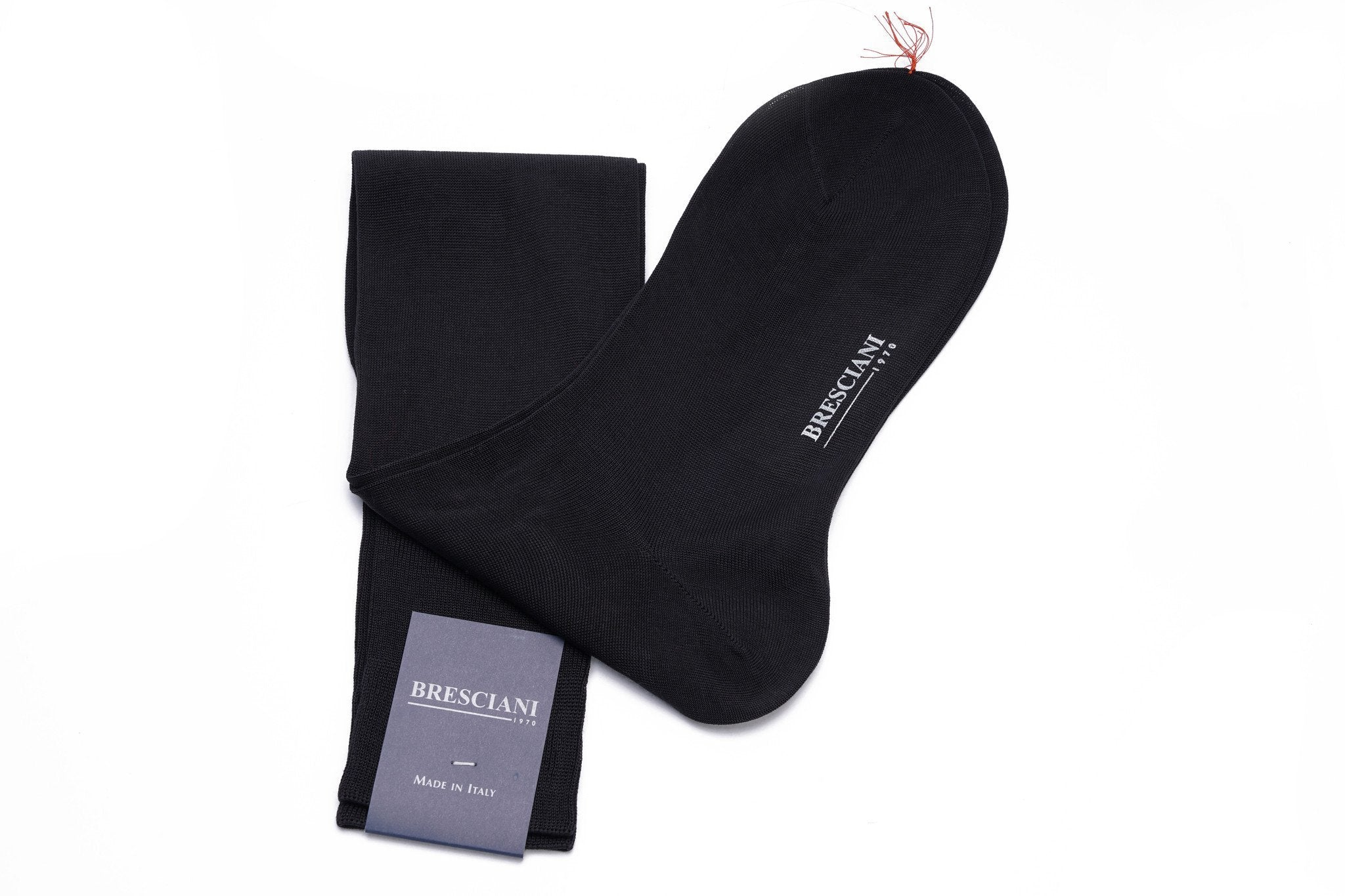 Bresciani Solid Cotton/Silk Knee Length Socks