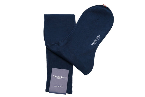 Bresciani Cotton and Silk Solid Colour Knee Length Socks