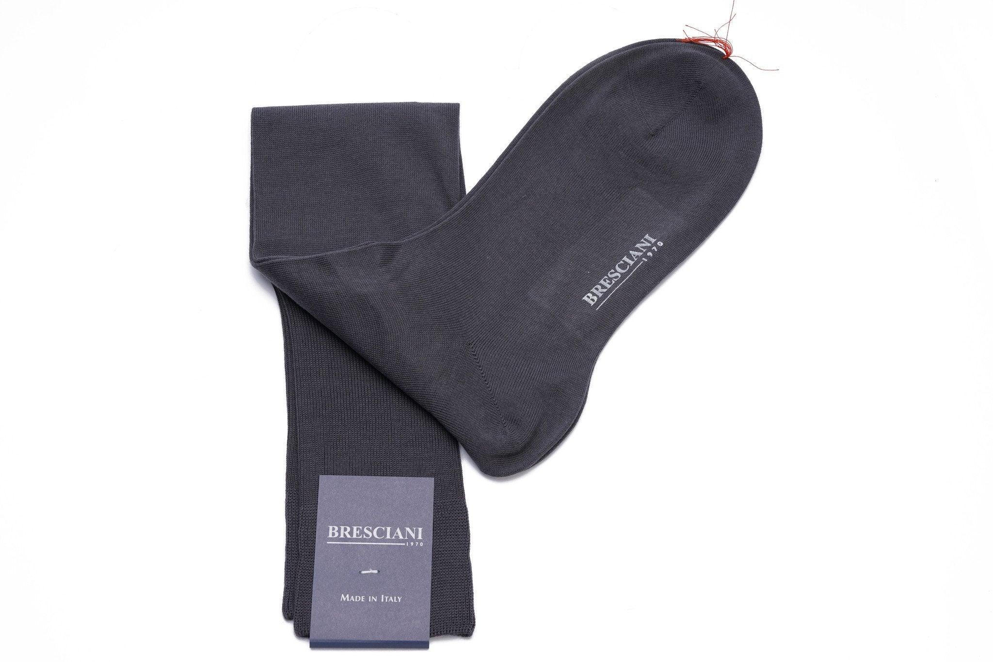 Bresciani Solid Sea Island Cotton Knee Length Socks