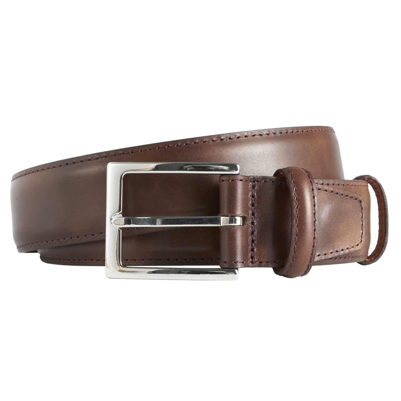 Carmina Belt in Dark Brown Museum Calf with Nickel Buckle