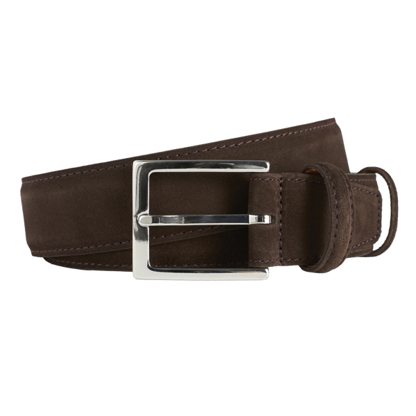 Carmina Belt in Dark Brown Suede with Nickel Buckle