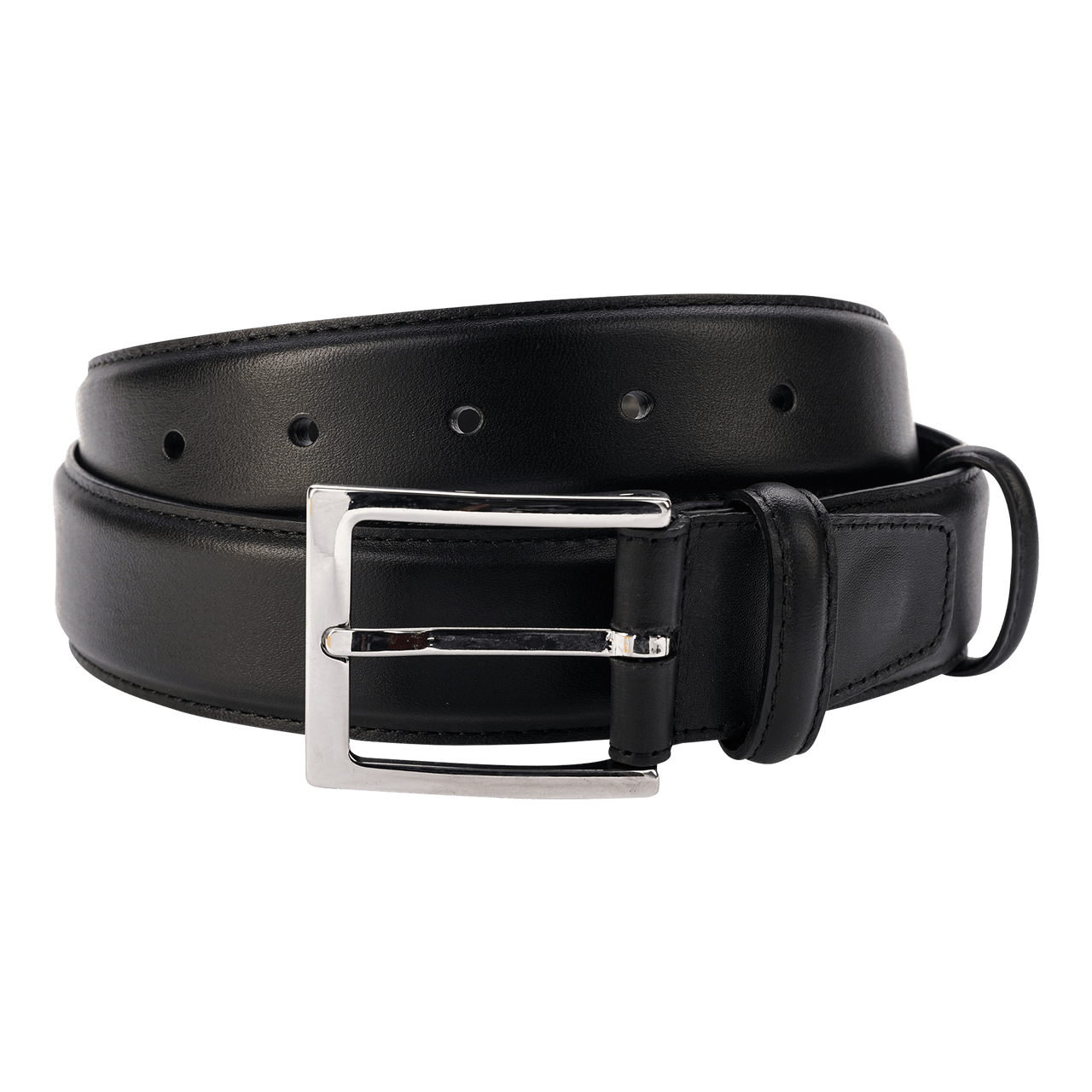Carmina Belt in Black Calf with Nickel Buckle Belts Carmina