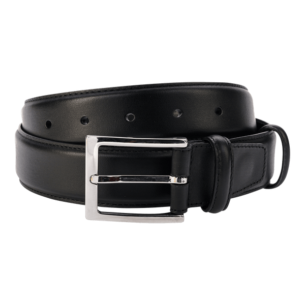 Carmina Belt in Black Calf with Nickel Buckle