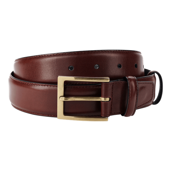 Carmina Belt in Burgundy Calf with Gold Buckle