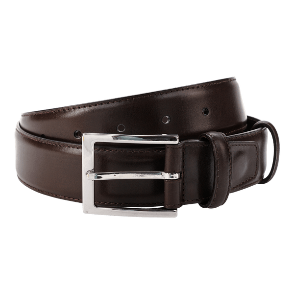 Carmina Belt in Brown Calf with Nickel Buckle Belts Carmina