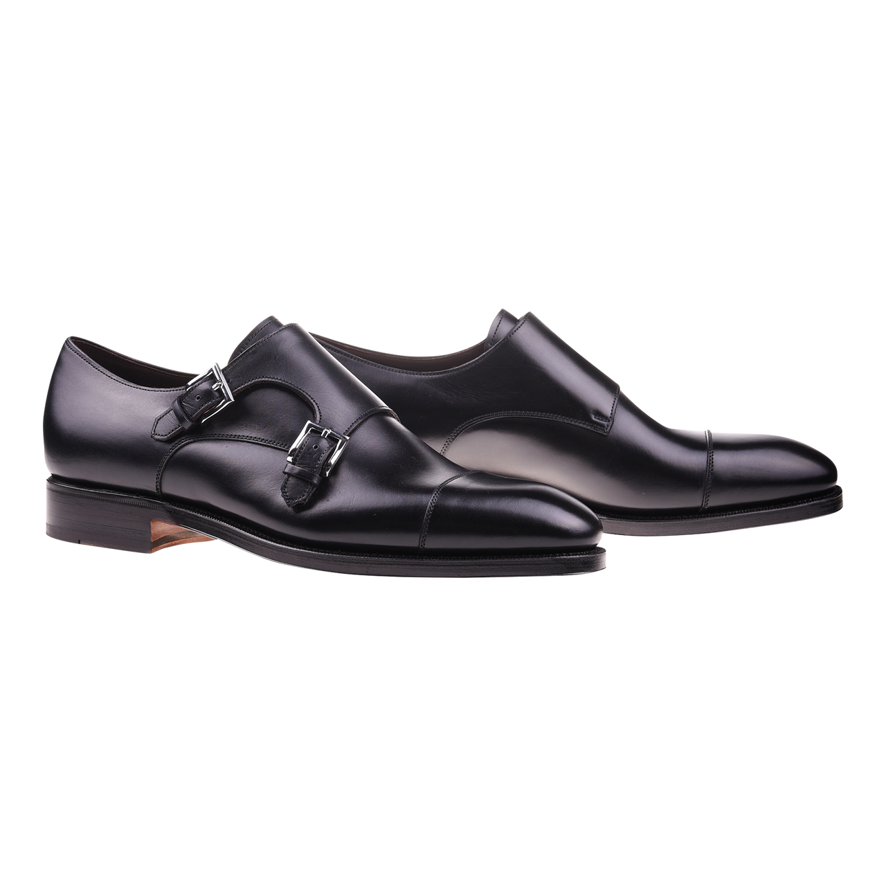Carmina Cap-Toe Double Monk in Black Calf