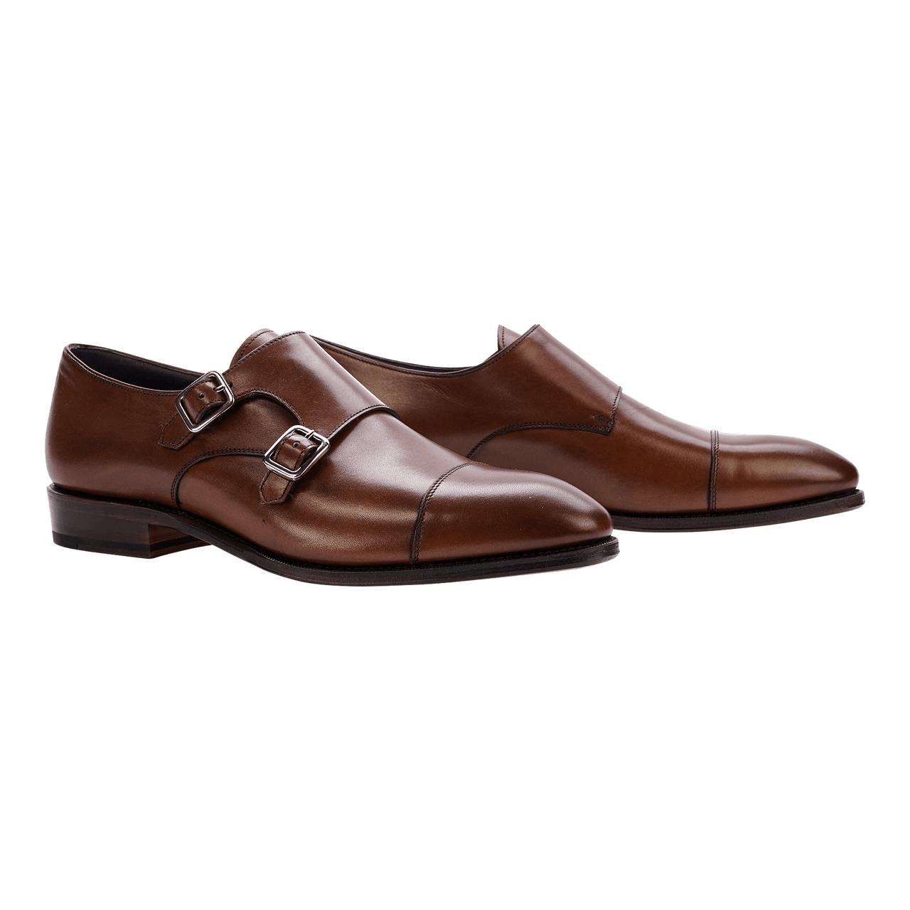 Carmina Cap-Toe Double Monk in Brown Calf Shoes - Monks - Double Carmina