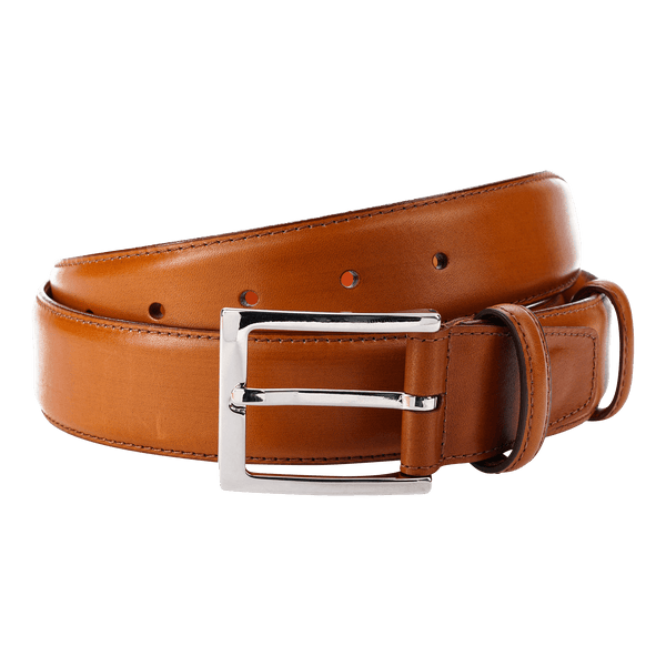 Carmina Belt in Chestnut Calf with Nickle Buckle Belts Carmina