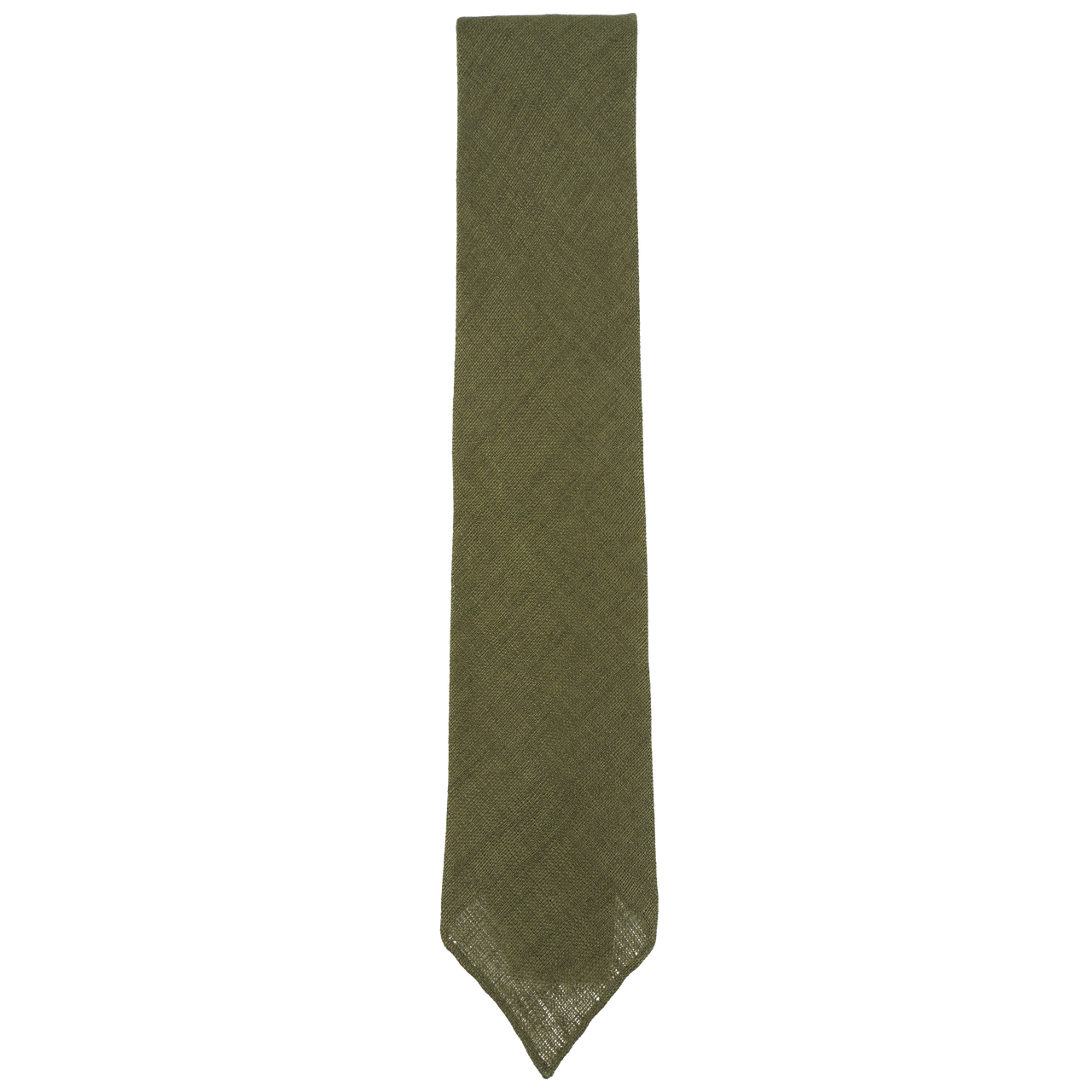 Drake's Tie in Olive Linen with Hand-Rolled Tip