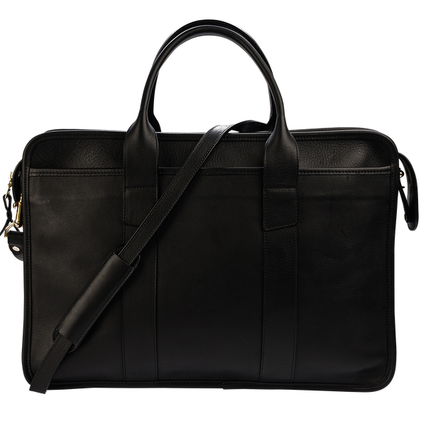 Frank Clegg x WJ & Co. Bound Edge Zip-Top Briefcase in Black Tumbled Leather