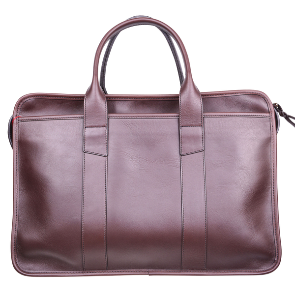 Frank Clegg x WJ & Co. Bound Edge Zip-Top Briefcase in Chocolate Tumbled Leather