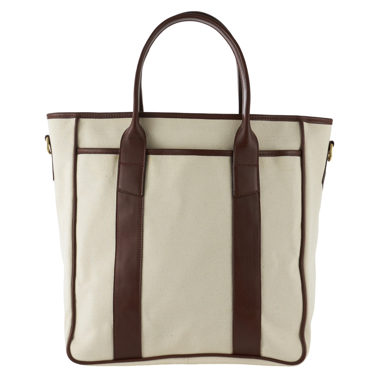 Frank Clegg Commuter Tote in Ivory Canvas and Chestnut Leather Trim