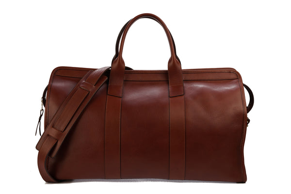 Frank Clegg Signature Travel Duffle Unlined in Chestnut Tumbled Leather