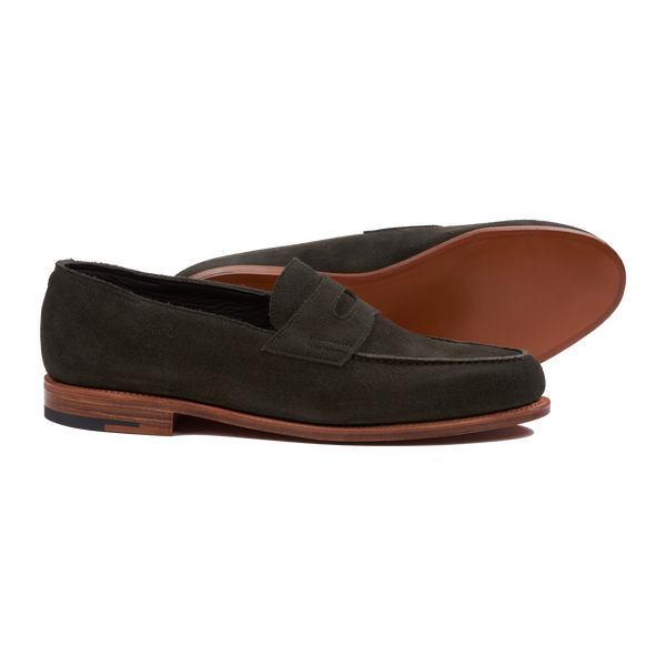 John Lobb Lopez Unlined in Olive Suede