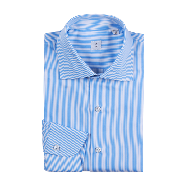 P. Johnson Shirt in Sky Blue Stripe Cotton Twill with Spread Collar