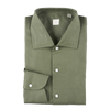 P. Johnson Shirt in Army Green Linen with One-Piece Spread Collar