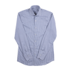 P. Johnson Shirt in Grey Stripe Cotton Twill with Spread Collar