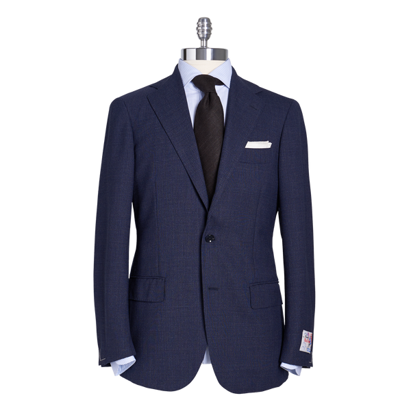 Ring Jacket Suit 288A S172 in Navy Glencheck 4-Ply Wool