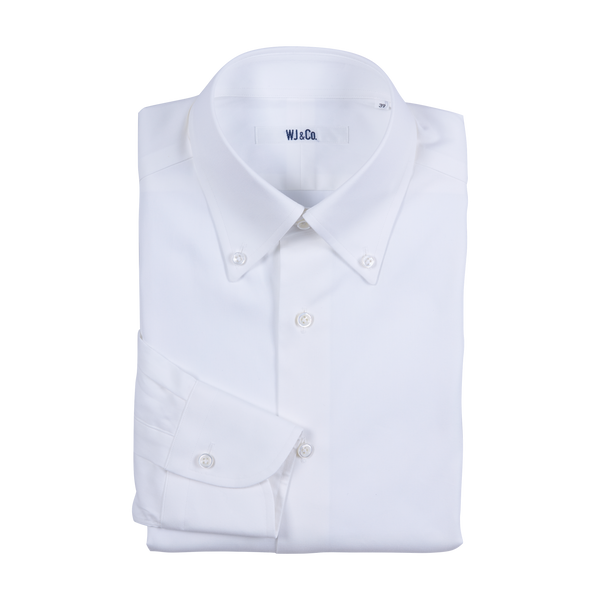 WJ & Co. Shirt in White Pinpoint Oxford with Button Down Collar