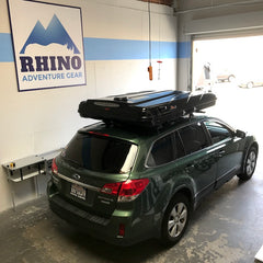 Subaru Outback custom cross bar roof rack installation for James Baroud Evasion