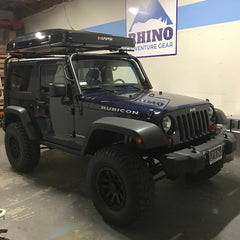 Jeep JK Rubicon with KMS roof rack for iKamper Skycamp install at Rhino Adventure Gear