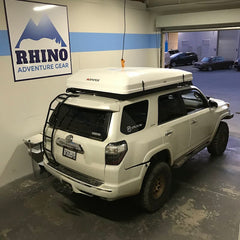 White 2016 Toyota 4Runner Limited Pro with newly installed white iKamper Skycamp Roof Top Tent at Rhino Adventure Gear in San Francisco Bay Area, CA