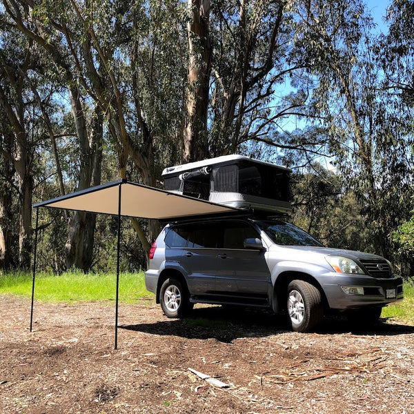 James Baroud Shade Awning set up with Roof Top Tent at dispersed camping site