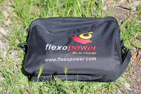 Flexopower portable solar panels for charging battery during extended camping trips