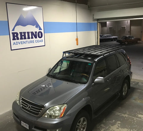 Rhino Rack Pioneer Platform installed on GX470 factory mounting points with six legs