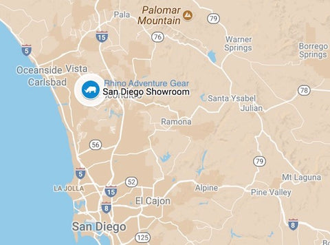 map of north county san diego showing Rhino Adventure Gear showroom location in San Marcos CA