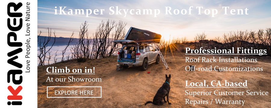 scenic camping with ikamper Skycamp roof top tent installation services in California from Rhino Adventure Gear