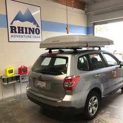 Subaru Forester with Custom Rhino Rack Roof Rack System and iKamper Skycamp Roof Top Tent installed at Rhino Adventure Gear in California
