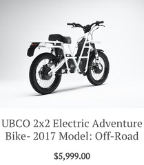 Ubco 2x2 Electric Adventure Bike 2017 Off Road Model available at Rhino Adventure Gear