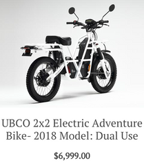 Ubco 2x2 Electric Adventure Bike 2018 Dual Use model available at Rhino Adventure Gear