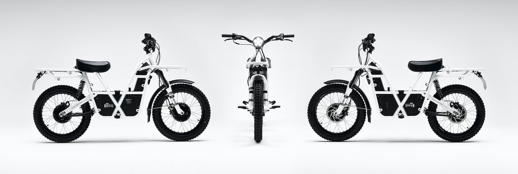 ubco 2x2 electric adventure bikes available at Rhino Adventure Gear- studio shot of 3 electric dirt bikes at different angles
