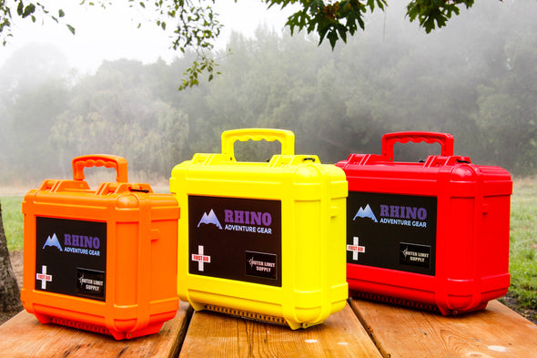 Three types of trauma kits for off road travelers in heavy duty case that can be mounted to vehicle exterior or roof rack